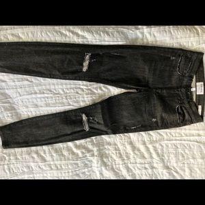 Frame light black wash skinny distressed jeans